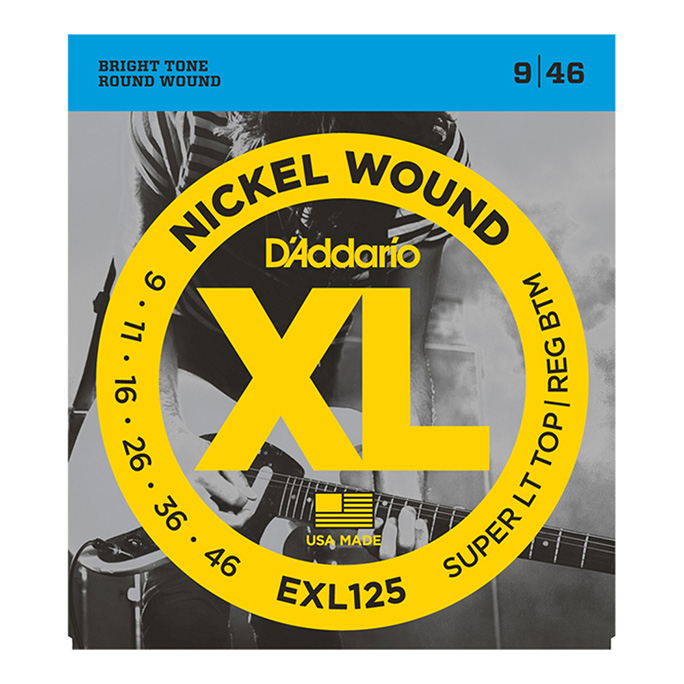 D'Addario <br>EXL125 XL Nickel Round Wound Super Light Top / Regular Bottom 09-46