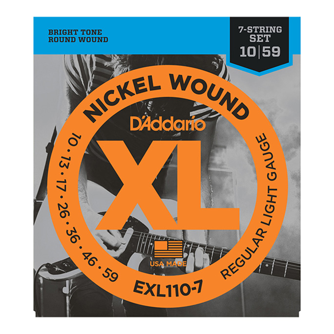 D'Addario <br>EXL110-7 XL Nickel Round Wound Regular Light 7-string 10-59