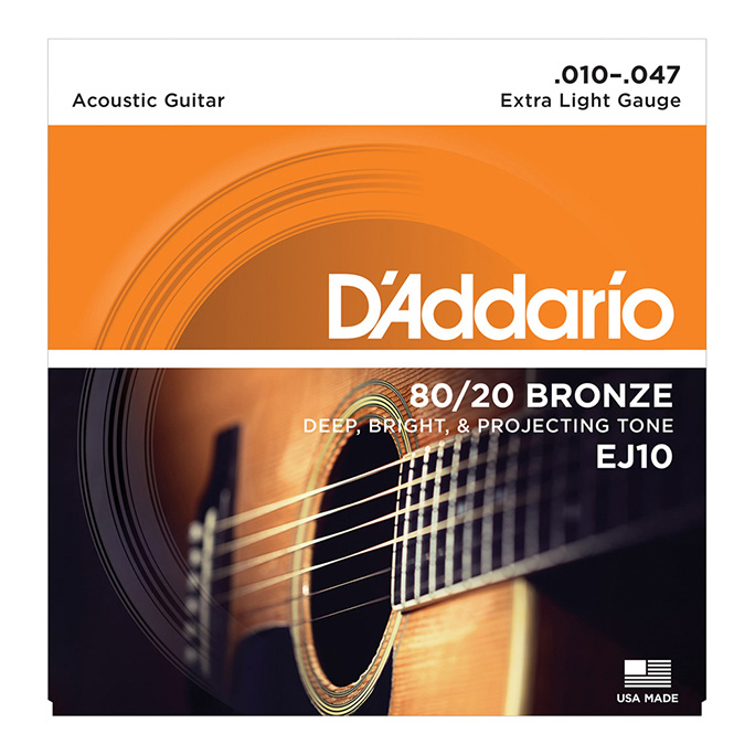 D'Addario <br>EJ10 80/20 Bronze Wound Extra Light 10-47