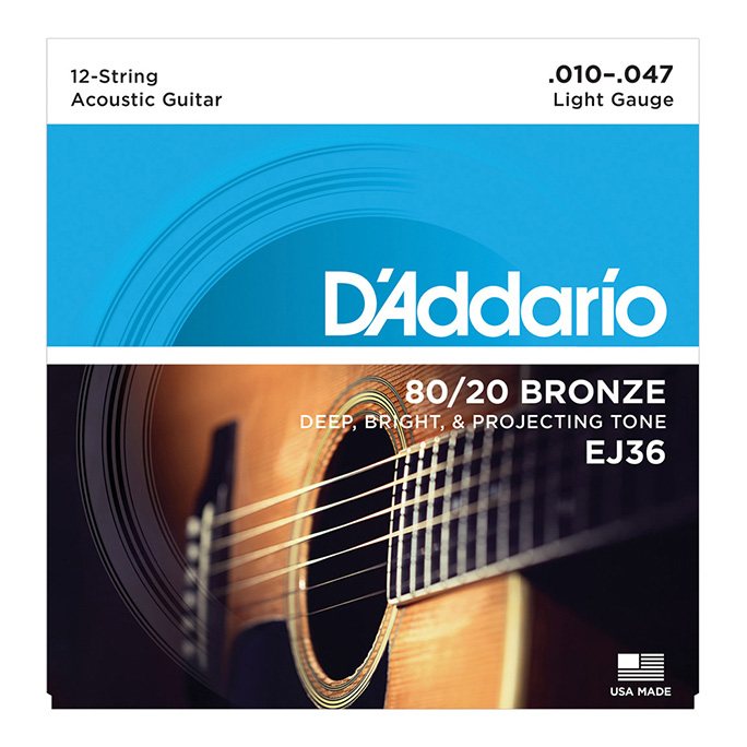 D'Addario <br>EJ36 80/20 Bronze Wound Light 12-String 10-47