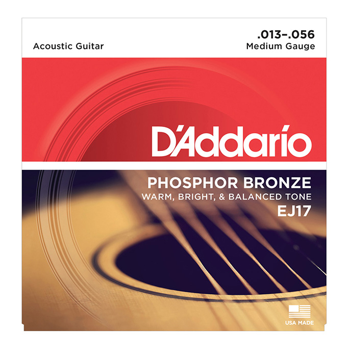 D'Addario <br>EJ17 Phosphor Bronze Wound Medium 13-56