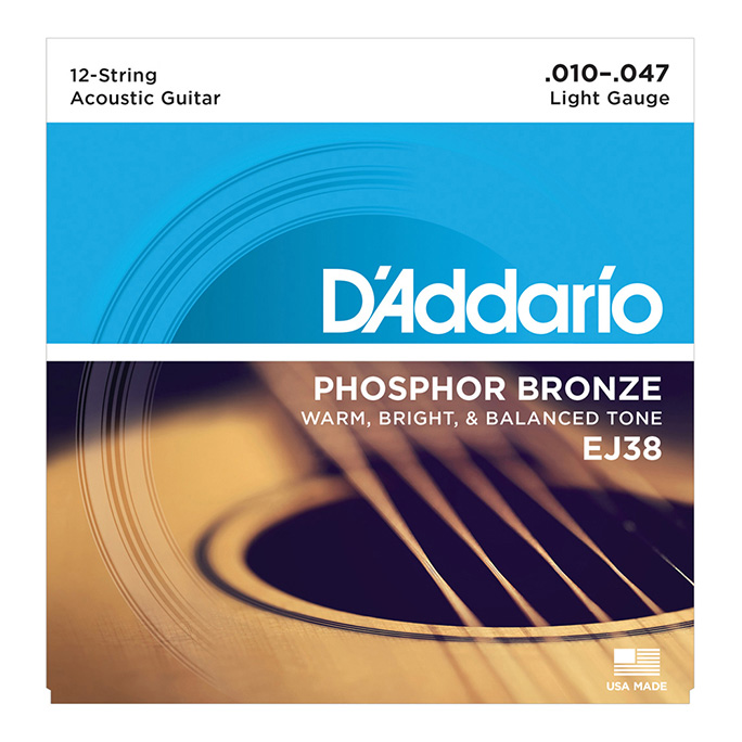 D'Addario <br>EJ38 Phosphor Bronze Wound Light 12-String 10-47