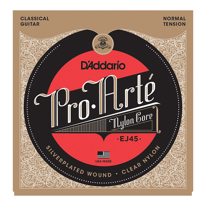 D'Addario <br>EJ45 Pro-Arte Nylon Core Silver / Clear / Normal Tension