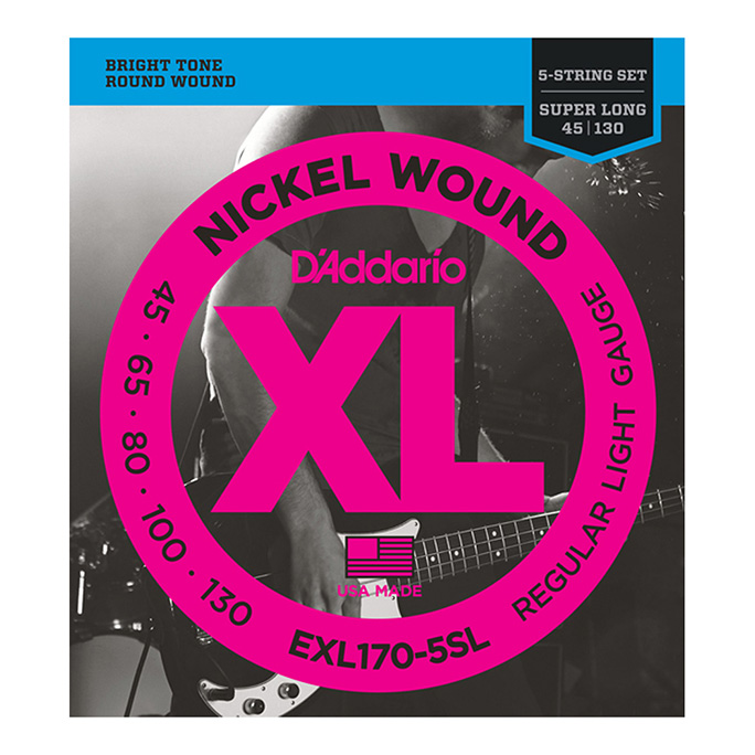 D'Addario <br>EXL170-5SL XL Nickel Round Wound Super Long Scale 5-String 45-130