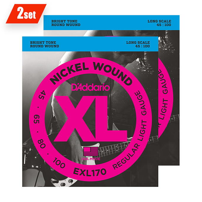 D'Addario <br>EXL170-TP XL Nickel Round Wound Twin Packs Long Scale 45-100 2set