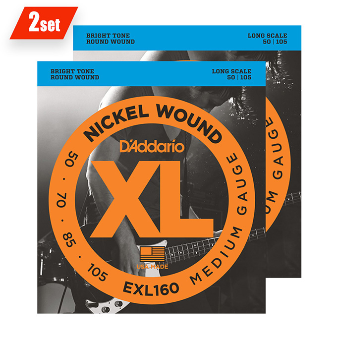 D'Addario <br>EXL160 XL Nickel Round Wound Twin Packs Long Scale 50-105 2set
