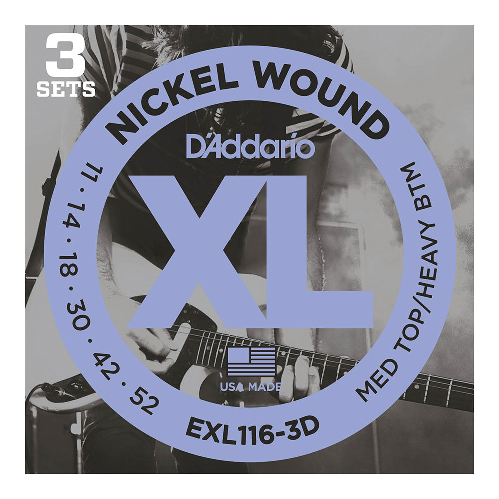 D'Addario <br>EXL116-3D XL Nickel Round Wound Multi-Packs Medium Top/Heavy Bottom 11-52 3set