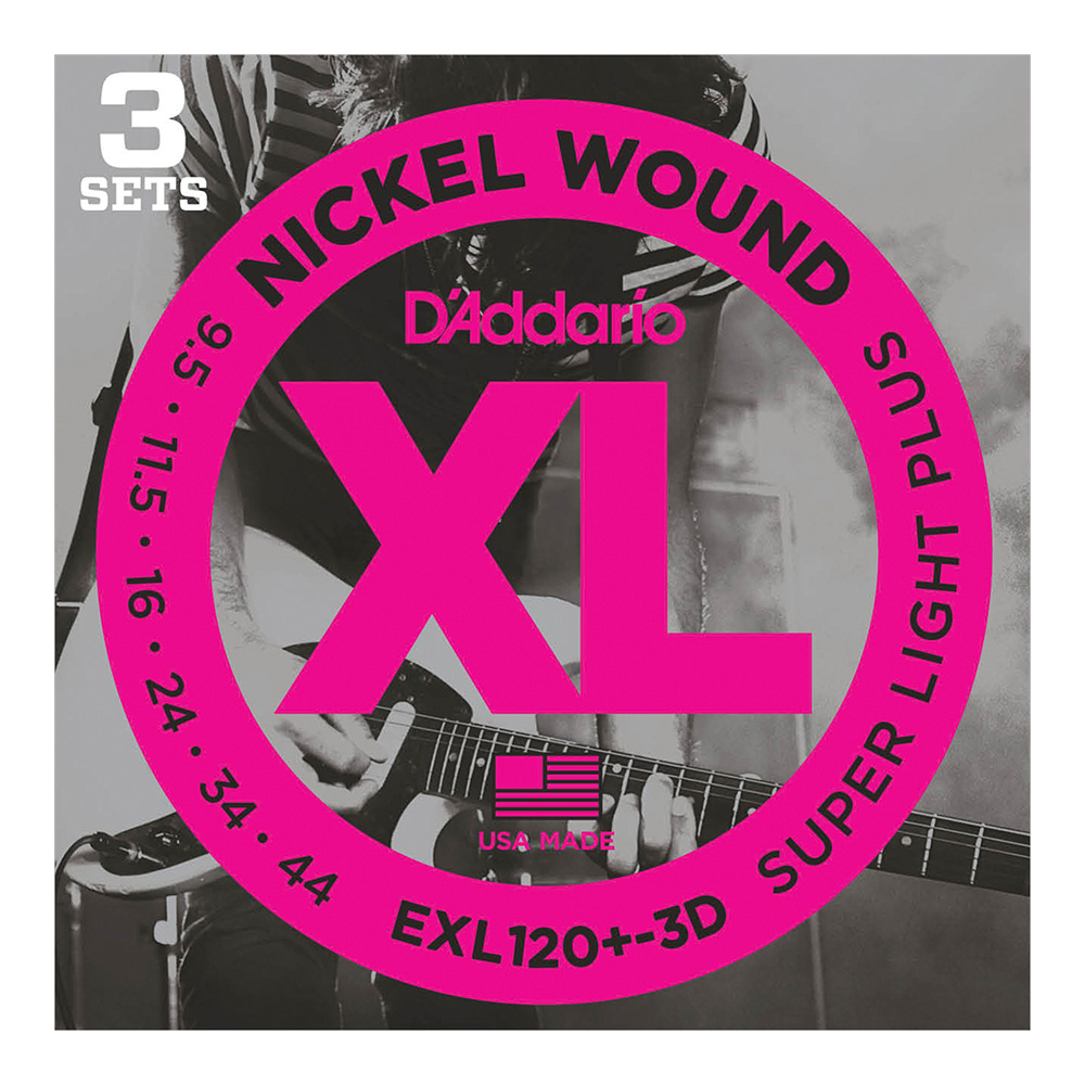 D'Addario <br>EXL120+-3D XL Nickel Round Wound Multi-Packs Super Light Plus 9.5-44 3set