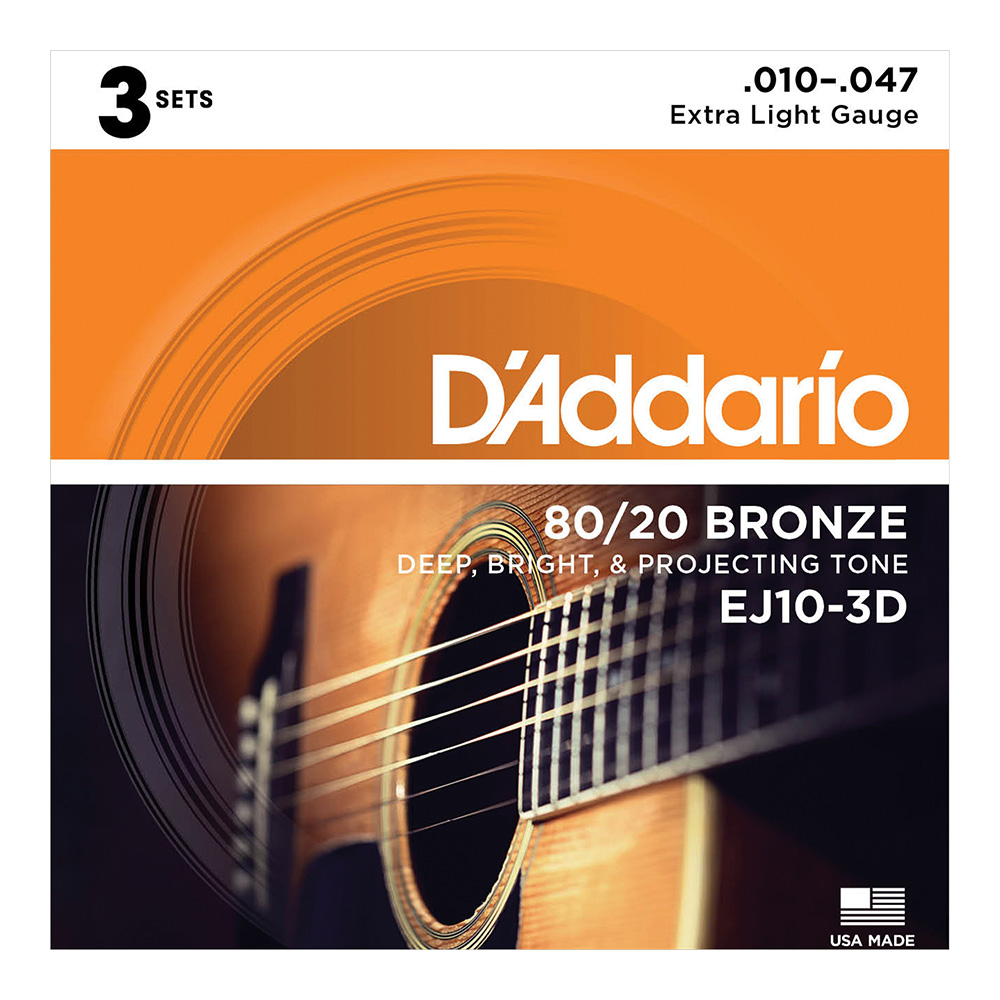 D'Addario <br>EJ10-3D 80/20 Bronze Wound Multi-Packs Extra Light 10-47 3set