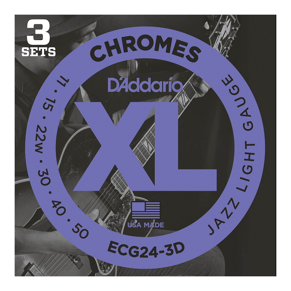 D'Addario <br>ECG24-3D XL Chromes Flat Wound Multi-Packs Jazz Light 11-50 3set