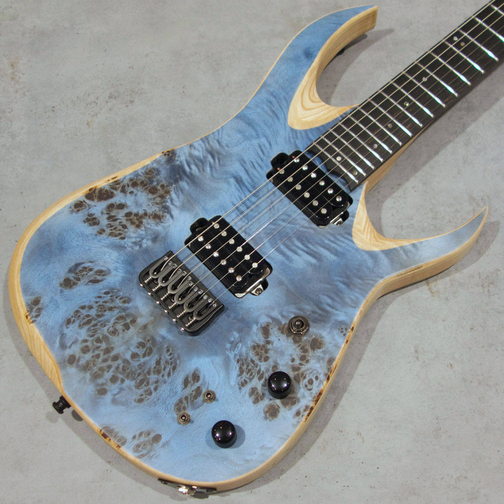 Overload Custom Guitars <br>Raijin 6 Poplar Burl Top /Satin Trans Light Blue