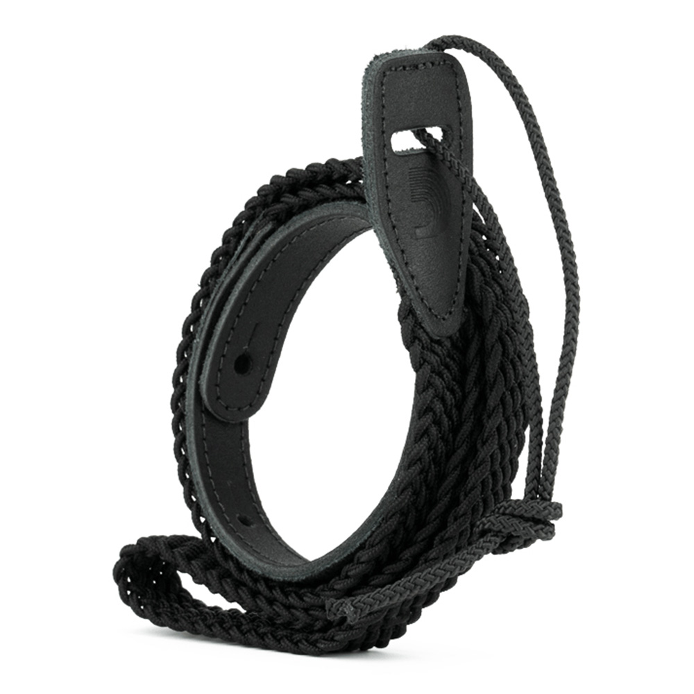 D'Addario <br>Fabric Braided Mandolin Strap - Black [10MB01]