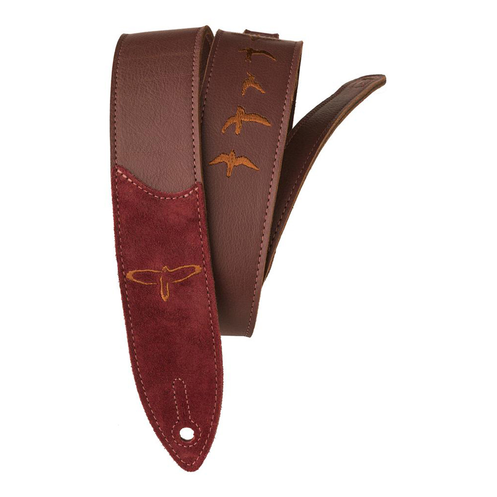 Paul Reed Smith (PRS) <br>Premium Leather Strap, Birds Embroidery, Burgundy